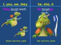 They brush teeth. Вони чистять зуби. He brushes teeth. Він чистить зуби. I, y...