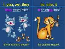 It catches mice. Вони ловлять мишей. Він ловить мишей. They catch mice. I, yo...