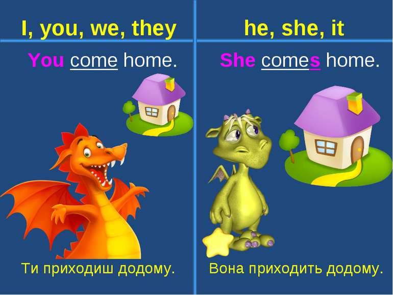 You come home. She comes home. Ти приходиш додому. Вона приходить додому. I, ...