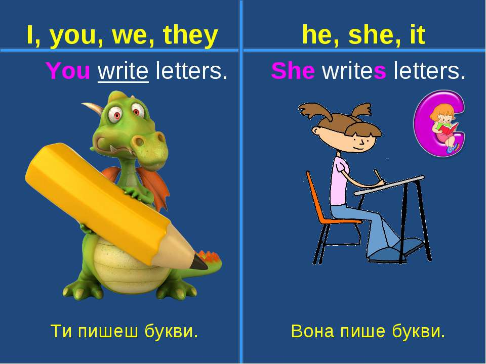 You write letters. She writes letters. Ти пишеш букви. Вона пише букви. I, yo...