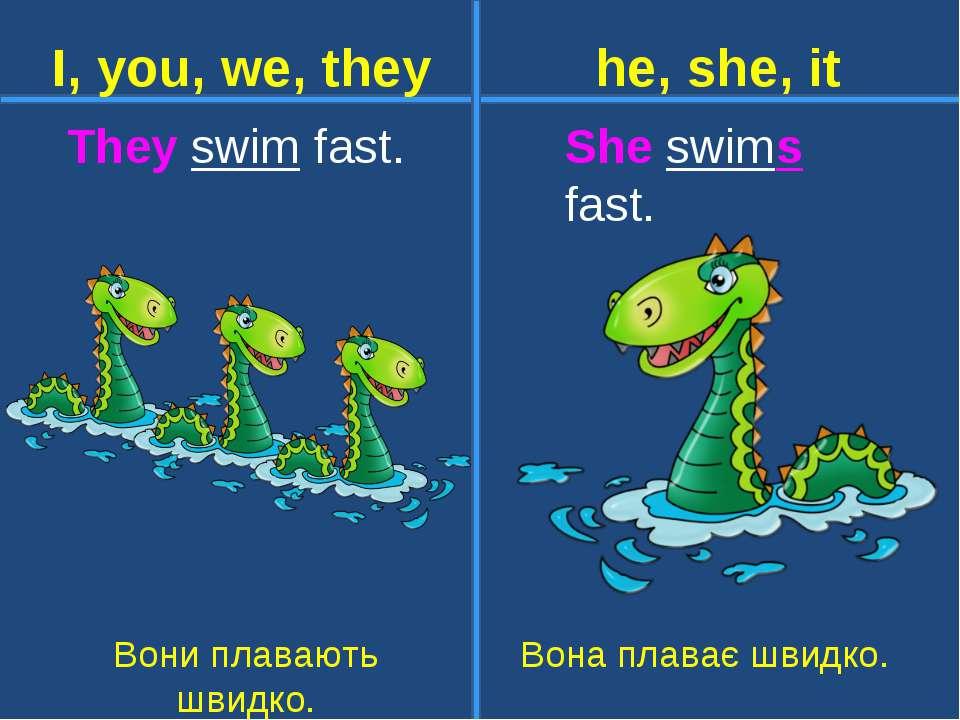 They swim fast. She swims fast. Вони плавають швидко. Вона плаває швидко. I, ...