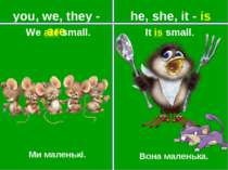 you, we, they - are he, she, it - is Ми маленькі. Вона маленька. It is small....