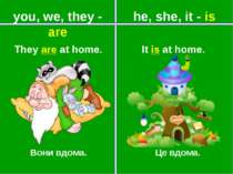 he, she, it - is Вони вдома. Це вдома. It is at home. They are at home. you, ...