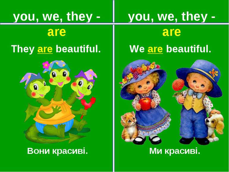 you, we, they - are you, we, they - are Вони красиві. Ми красиві. They are be...