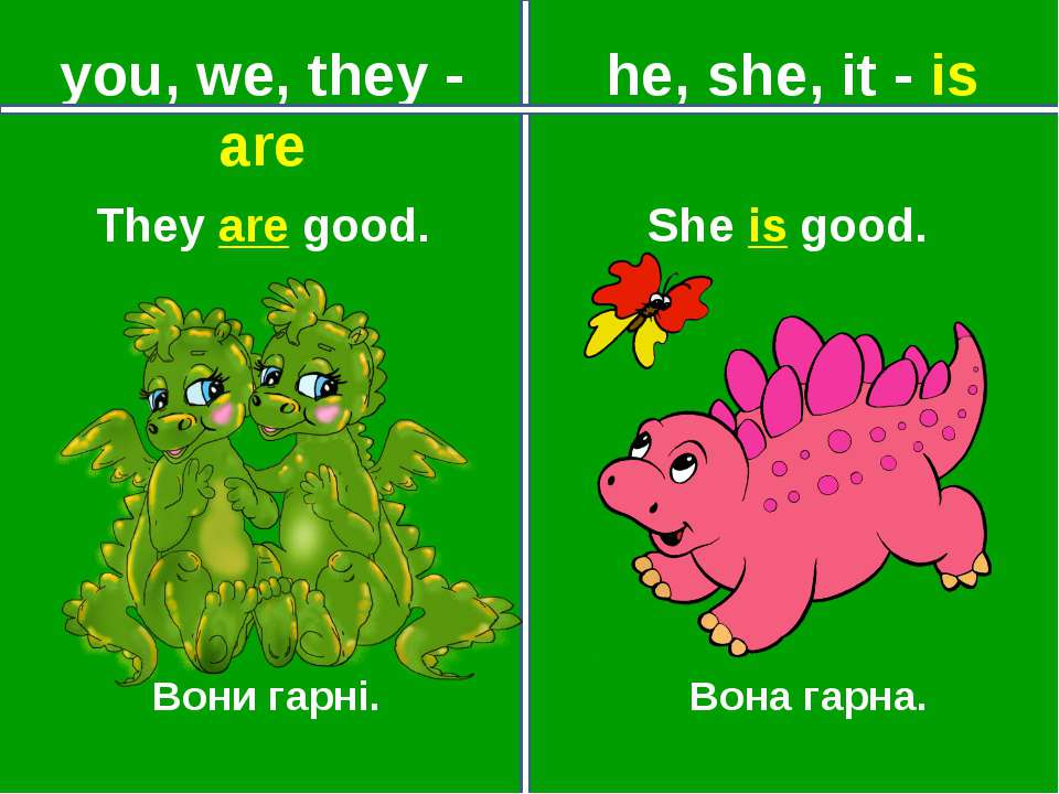 you, we, they - are he, she, it - is Вони гарні. Вона гарна. They are good. S...