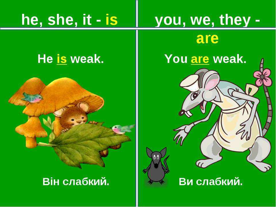 you, we, they - are he, she, it - is Він слабкий. Ви слабкий. You are weak. H...
