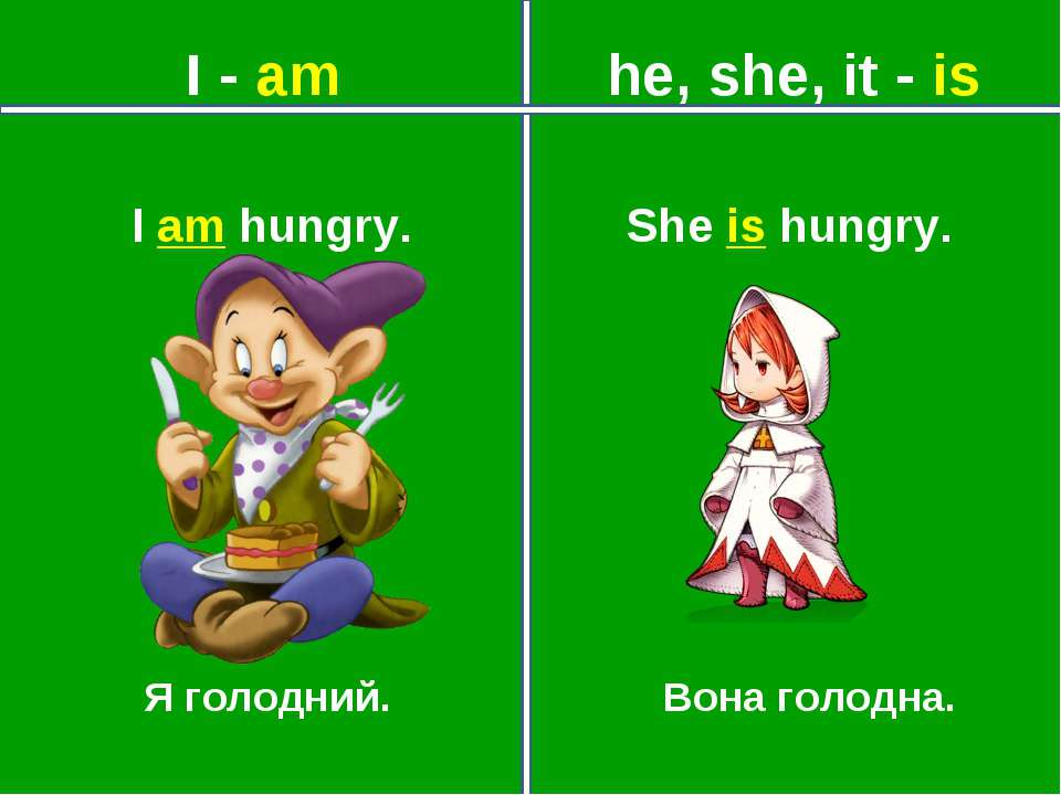 I - am he, she, it - is Я голодний. Вона голодна. She is hungry. I am hungry.