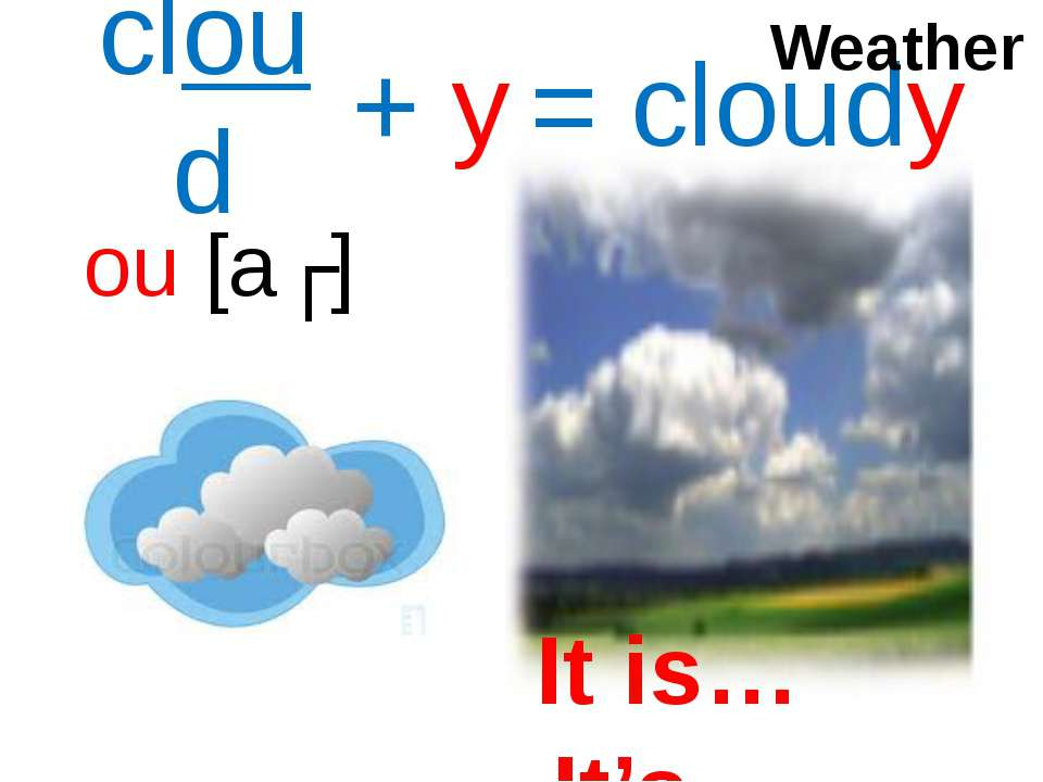 ou [aʊ] + y = cloudy cloud Weather It is… It's…