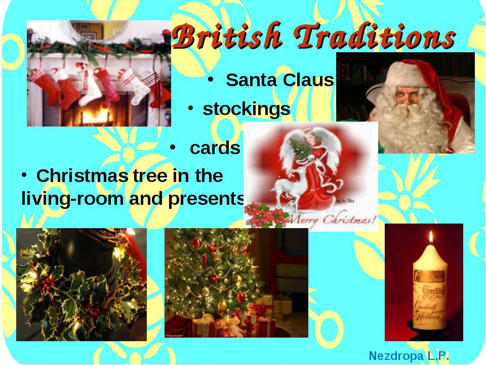 British Traditions Santa Claus stockings Christmas tree in the living-room an...