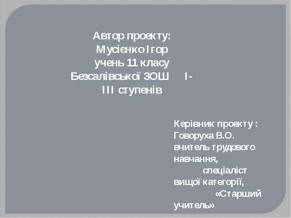 Автор проекту: Мусієнко Ігор учень 11 класу Безсалівської ЗОШ І-ІІІ ступенів ...
