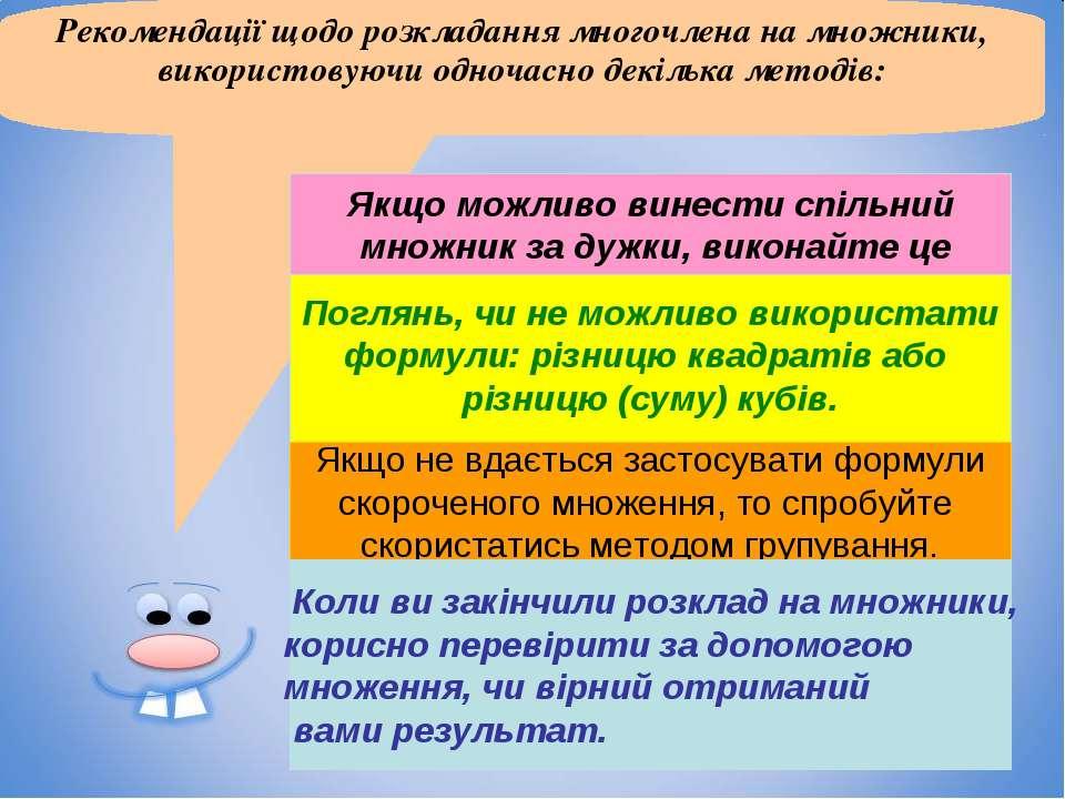 Рекомендації щодо розкладання многочлена на множники, використовуючи одночасн...