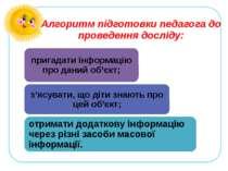 Алгоритм підготовки педагога до проведення досліду: