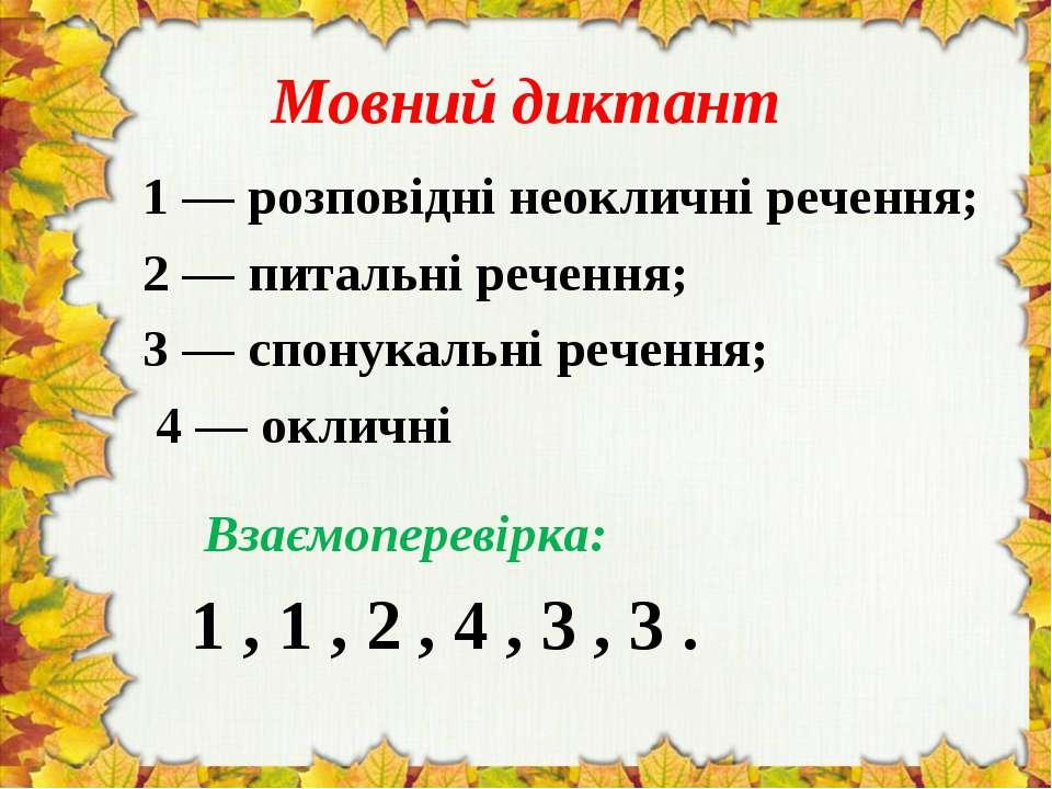 Мовний диктант 1 — розповідні неокличні речення; 2 — питальні речення; 3 — сп...
