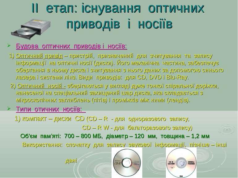 ІІ етап: існування оптичних приводів і носіїв Будова оптичних приводів і носі...