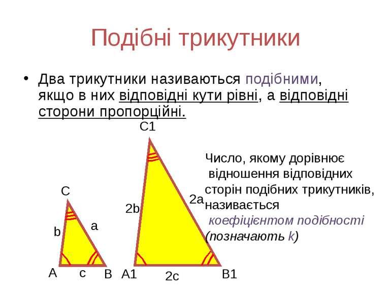 Подібні трикутники Два трикутники називаються подібними, якщо в них відповідн...