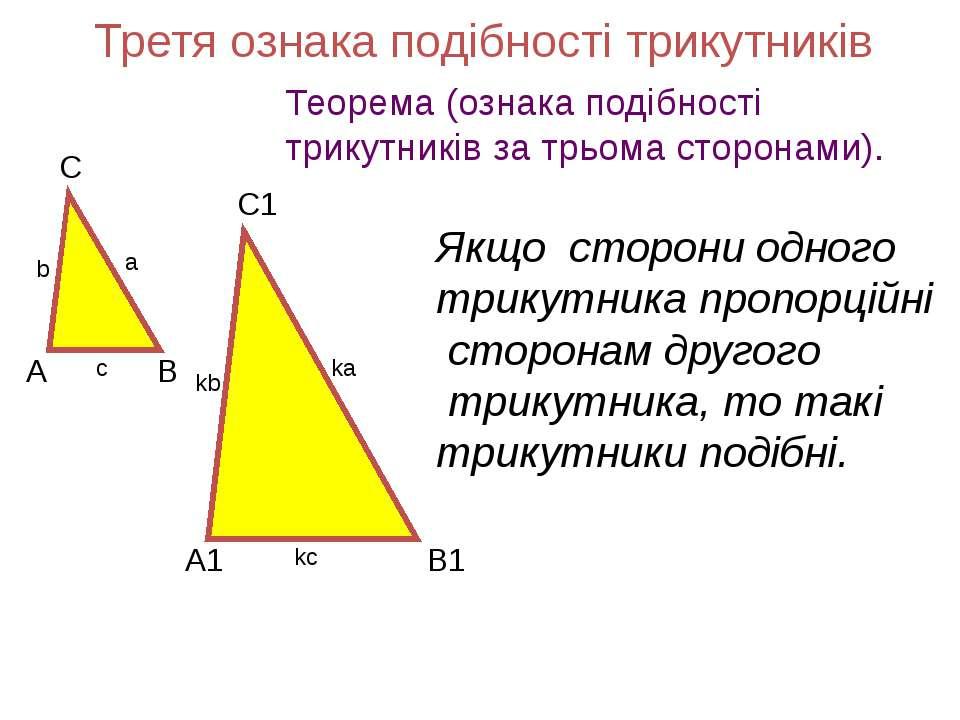 Третя ознака подібності трикутників Теорема (ознака подібності трикутників за...