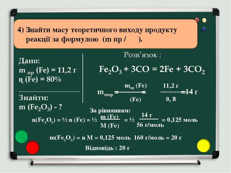 4) Знайти масу теоретичного виходу продукту реакції за формулою (m пр / ɳ ). ...