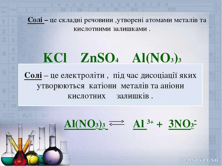 Солі – це складні речовини ,утворені атомами металів та кислотними залишками ...