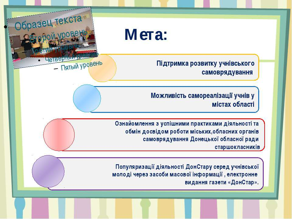 Мета: Підтримка розвитку учнівського самоврядування Ознайомлення з успішними ...