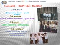 «Школа – територія права» 1-4 класи: «Діти мають право» - усний журнал; 5-6 к...