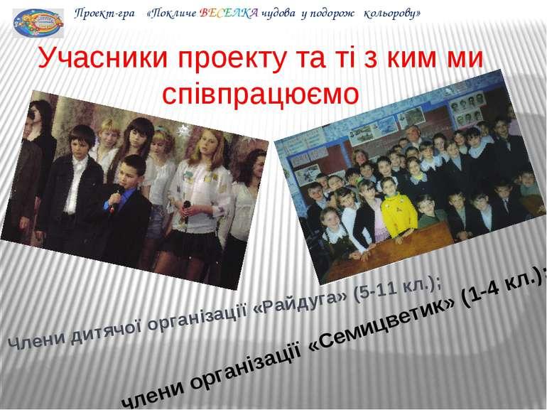 Учасники проекту та ті з ким ми співпрацюємо Члени дитячої організації «Райду...