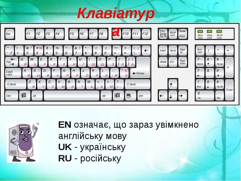 Клавіатура EN означає, що зараз увімкнено англійську мову UK - українську RU ...