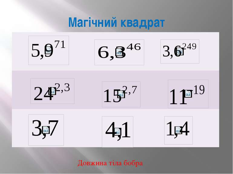 Магічний квадрат Довжина тіла бобра