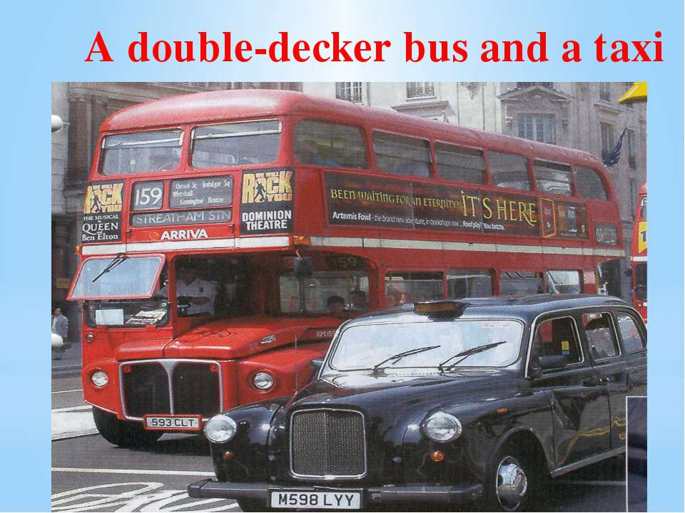 A double-decker bus and a taxi