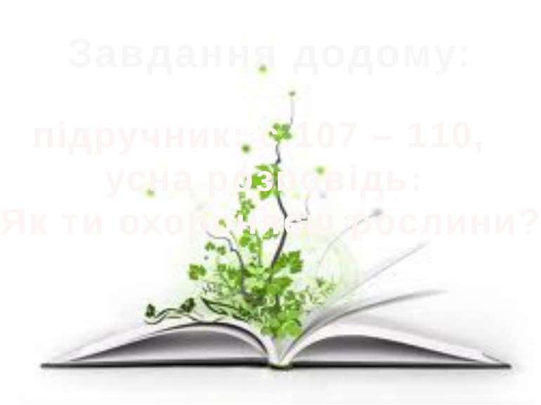 Завдання додому: підручник: с.107 – 110, усна розповідь: «Як ти охороняєш рос...