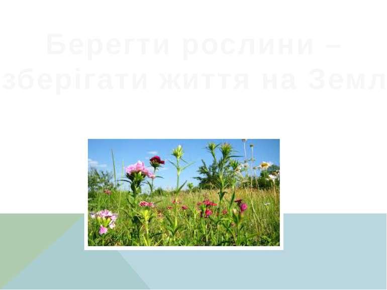 Берегти рослини – зберігати життя на Землі