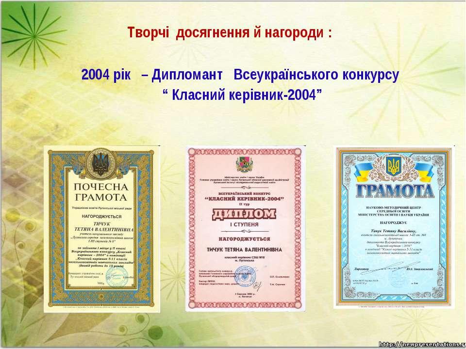 Творчі досягнення й нагороди :