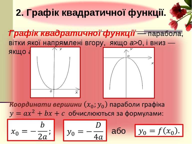Графік квадратичної функції — парабола, вітки якої напрямлені вгору, якщо a>0...