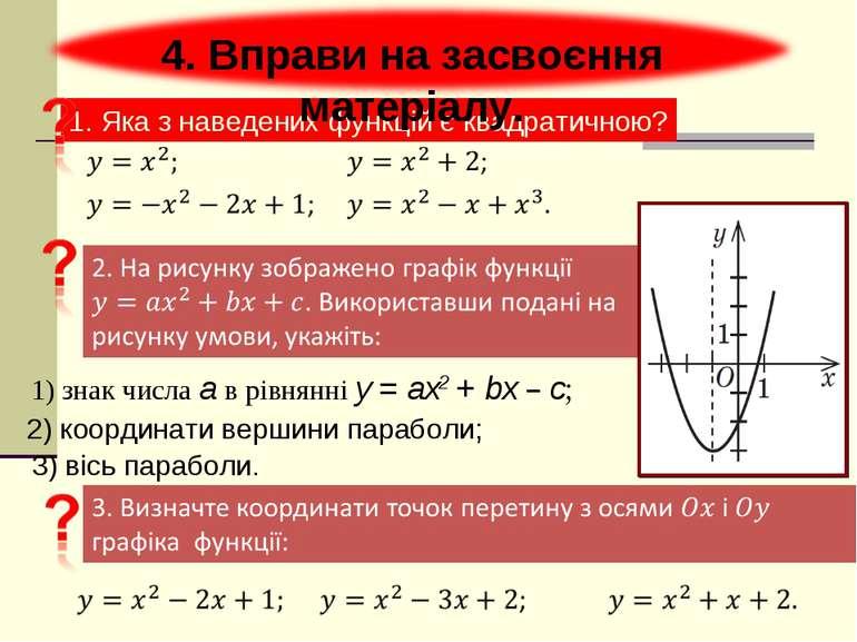 1. Яка з наведених функцій є квадратичною? 4. Вправи на засвоєння матеріалу. ...