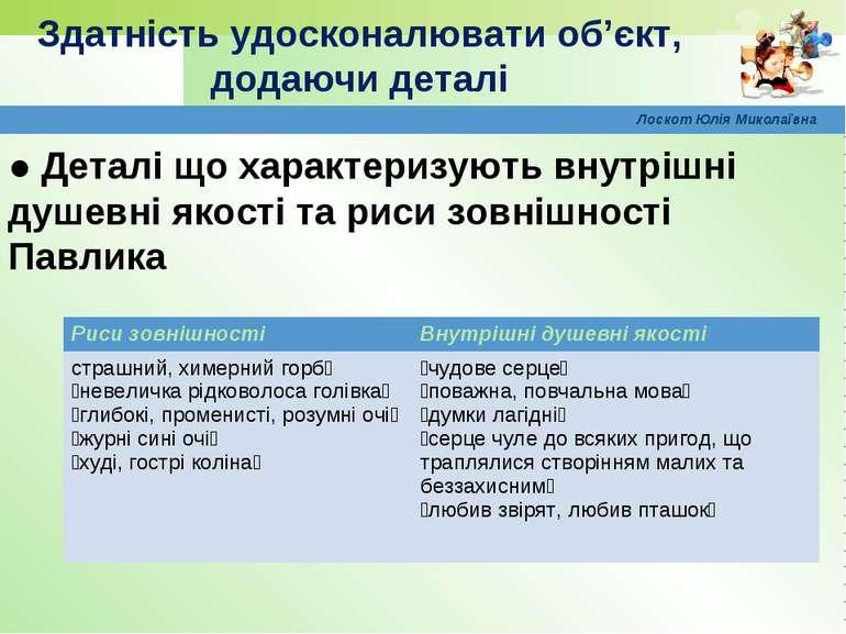 Лоскот Юлія Миколаївна ● Деталі що характеризують внутрішні душевні якості та...