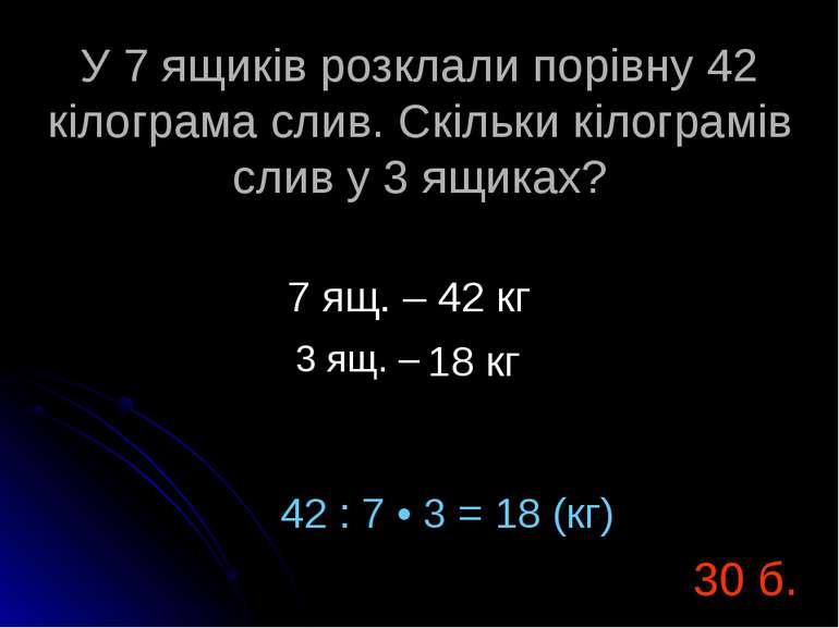 У 7 ящиків розклали порівну 42 кілограма слив. Скільки кілограмів слив у 3 ящ...