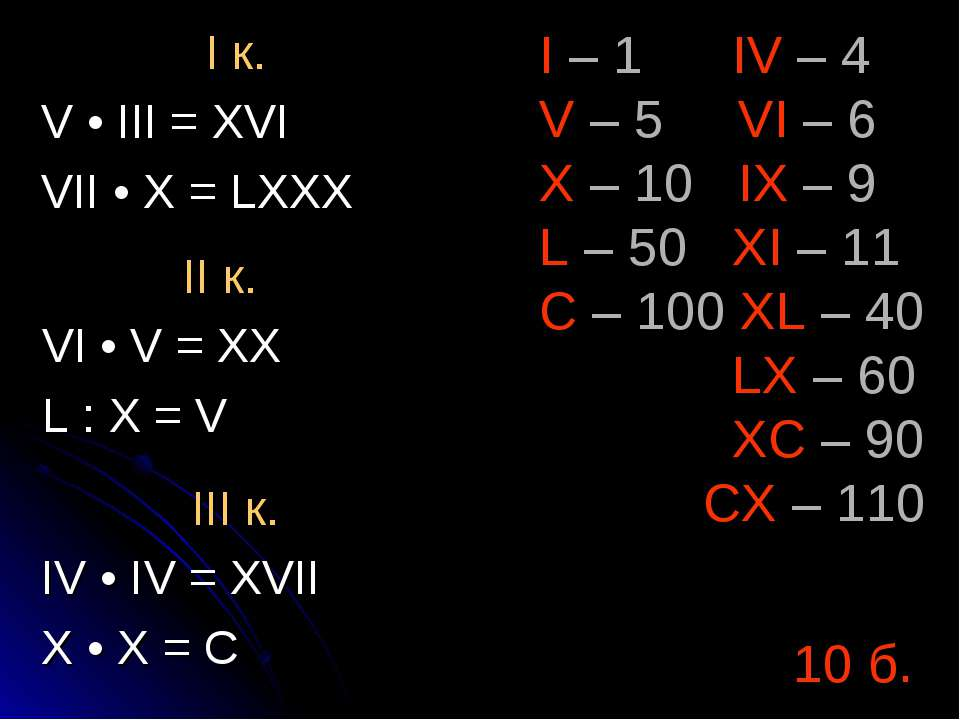 I – 1 IV – 4 V – 5 VI – 6 X – 10 IX – 9 L – 50 XI – 11 C – 100 XL – 40 LX – 6...
