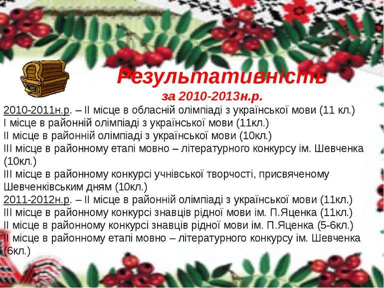 Результативність за 2010-2013н.р. 2010-2011н.р. – ІІ місце в обласній олімпіа...