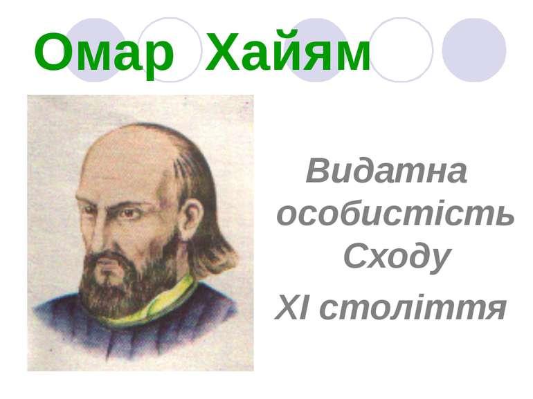 Омар Хайям Видатна особистість Сходу ХІ століття