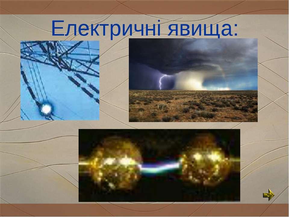 Електричні явища: