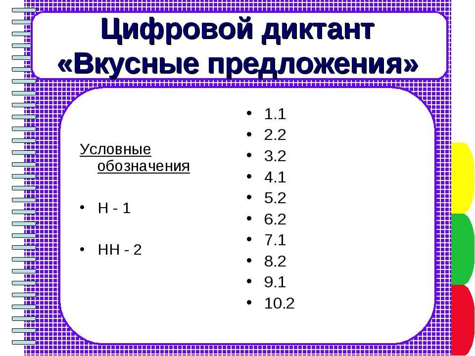 Цифровой диктант «Вкусные предложения» 1.1 2.2 3.2 4.1 5.2 6.2 7.1 8.2 9.1 10...