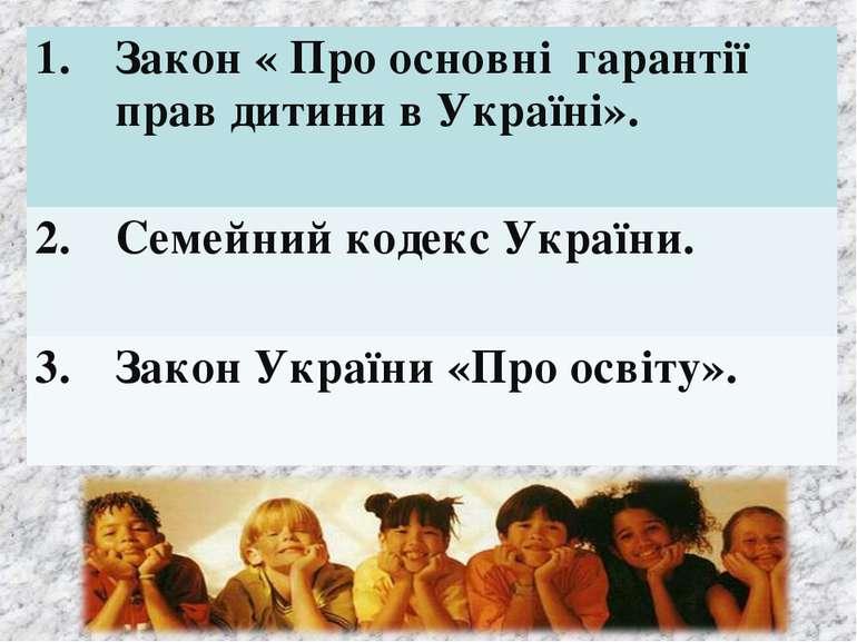 1. Закон « Про основні гарантії прав дитини в Україні». 2. Семейний кодекс Ук...