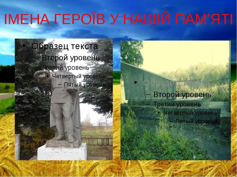 ІМЕНА ГЕРОЇВ У НАШІЙ ПАМ'ЯТІ
