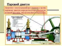 Паровий двигун Зворотно – поступальний рух поршня у цьому паровому двигуні пе...