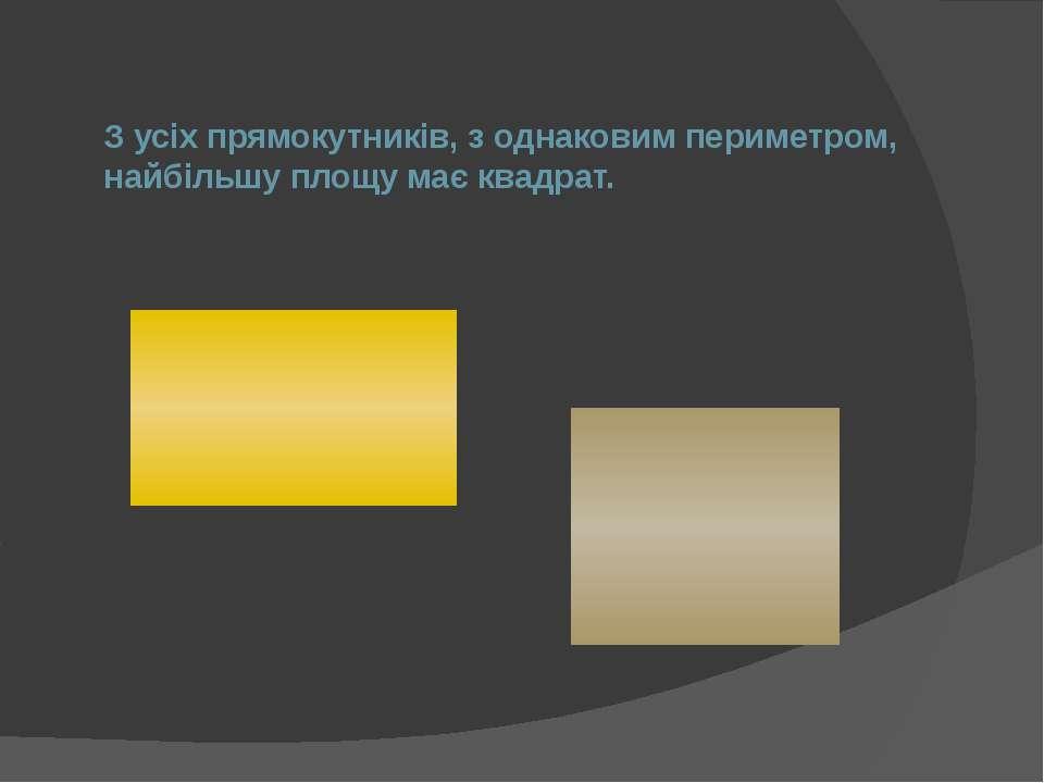 З усіх прямокутників, з однаковим периметром, найбільшу площу має квадрат.