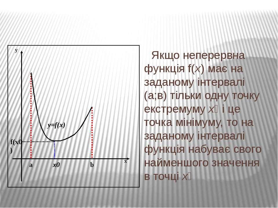 Якщо неперервна функція f(x) має на заданому інтервалі (а;в) тільки одну точк...