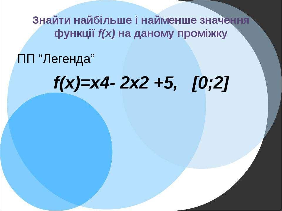 """Знайти найбільше і найменше значення функції f(x) на даному проміжку ПП """"Леге..."""