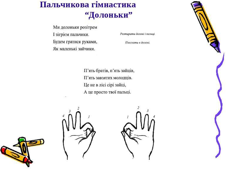 """Пальчикова гімнастика """"Долоньки"""""""