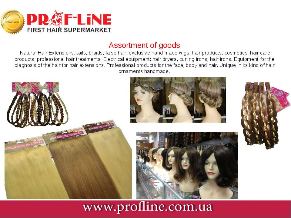 Assortment of goods Natural Hair Extensions, tails, braids, false hair, exclu...