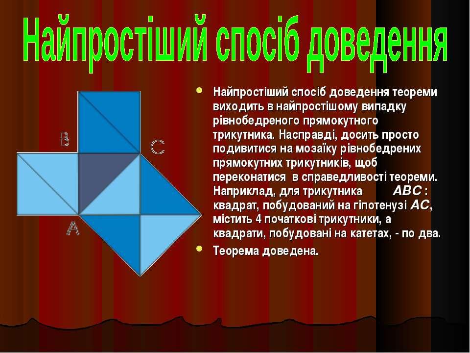 Найпростіший спосіб доведення теореми виходить в найпростішому випадку рівноб...
