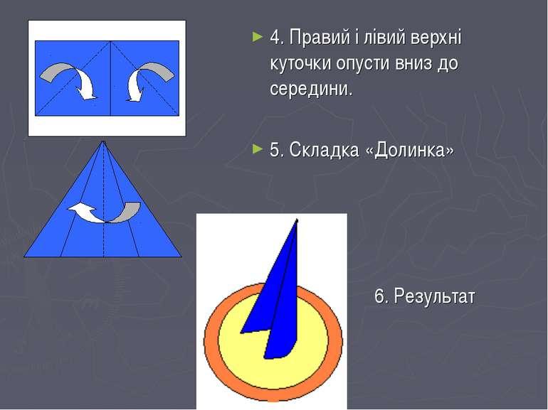 4. Правий і лівий верхні куточки опусти вниз до середини. 5. Складка «Долинка...